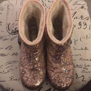 G by Guess Booties allover pink sequin